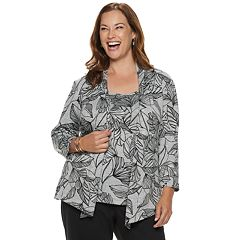 Plus Size Alfred Dunner Studio Leaves Mock-Layer Top