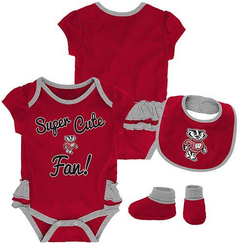 Baby Girl Wisconsin Badgers Mini Trifecta Bodysuit, Bib & Booties Set