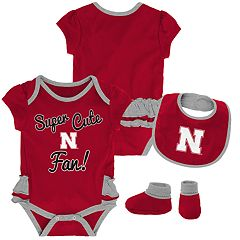 Baby Girl Nebraska Cornhuskers Mini Trifecta Bodysuit, Bib & Booties Set