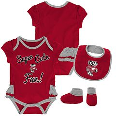 Baby Girl Wisconsin Badgers Mini Trifecta Bodysuit, Bib & Booties Set