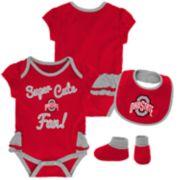 Baby Girl Ohio State Buckeyes Mini Trifecta Bodysuit, Bib & Booties Set