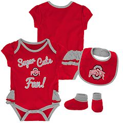 Baby Girl Ohio State Buckeyes Mini Trifecta Bodysuit, Bib & Booties Set