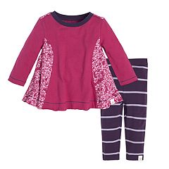 Baby Girl Burt's Bees Baby Organic Butterfly Tunic & Striped Leggings Set