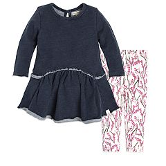 Baby Girl Burt's Bees Baby Organic French Terry Dress & Branch Blooms Leggings Set
