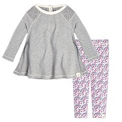 Baby Girl Burt's Bees Baby Organic Crochet Tunic & Cross-Stitch Leggings Set