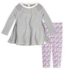 Baby Girl Burt's Bees Baby Organic Crochet Tunic & Cross-Stitch Leggings Set