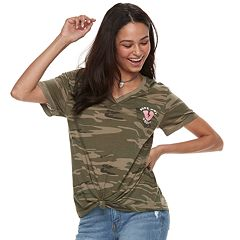 Juniors' 'Nope, Not Today' Knotted Camouflage Tee