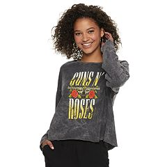 Juniors' Guns N' Roses Crop Tee