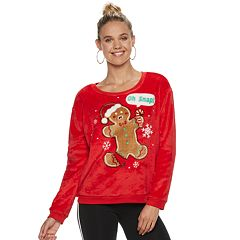 Juniors' 'Oh Snap' Fleece Christmas Sweatshirt