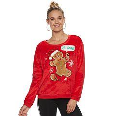 Juniors' 'Oh Snap' Fleece Christmas Sweatshirt