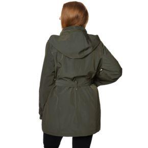 Plus Size Wildflower Hooded Belted Rain Jacket