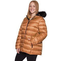 Plus Size Halitech Faux-Fur Hooded Packable Puffer Jacket