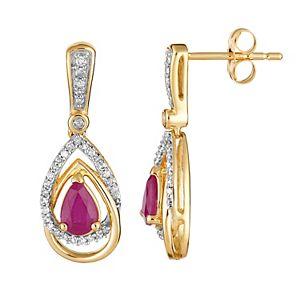 10k Gold Ruby & 1/4 Carat T.W. Diamond Drop Earrings