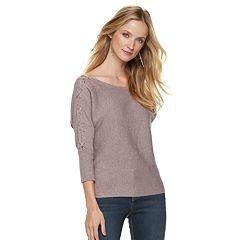 Women's Jennifer Lopez Lace-Up Boatneck Sweater