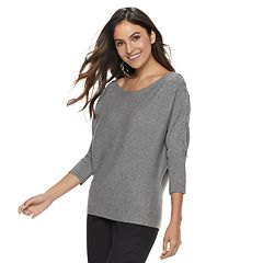 Women's Jennifer Lopez Lace-Up Boatneck Sweater