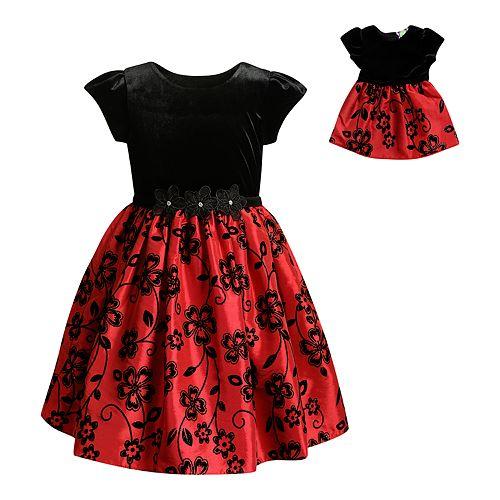 83313e46524e7 Girls 4-14 Dollie & Me Velvet Flocked Floral Dress & Matching Doll ...