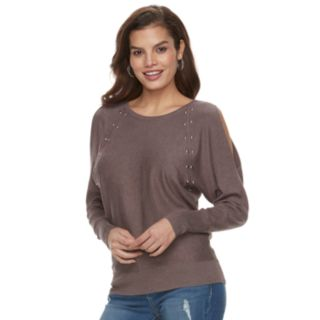 Women's Jennifer Lopez Studded Cold-Shoulder Sweater