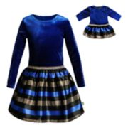Girls 4-14 Dollie & Me Velvet Striped Dress & Matching Doll Dress