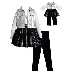 Girls 4-14 Dollie & Me Dress, Vest, Leggings & Matching Doll Outfit Set