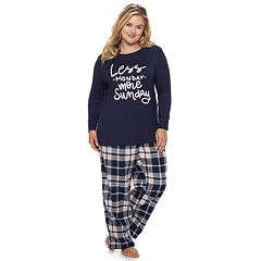 Plus Size SONOMA Goods for Life™ Ribbed Trim Pajama Tee
