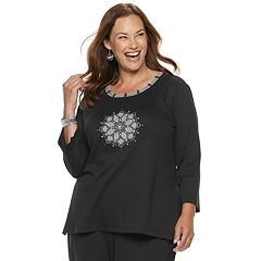 Plus Size Alfred Dunner Studio Embellished Medallion Top