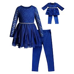 Girls 4-14 Dollie & Me Lace Dress, Leggings & Matching Doll Dress