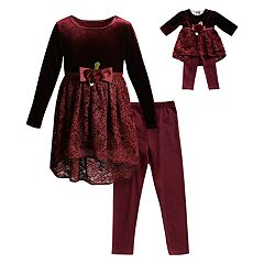 Girls 4-14 Dollie & Me Velvet Lace Dress, Leggings & Matching Doll Outfit Set