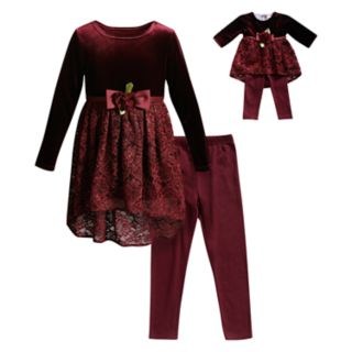 Girls 4-14 Dollie & Me Velvet Lace Dress, Leggings & Matching Doll Outfit Set