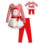Girls 4-14 Dollie & Me Santa Dress, Leggings & Matching Doll Outfit Set