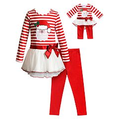 Girls 4-14 Dollie & Me Santa Dress, Leggings & Matching Doll Outfit Set