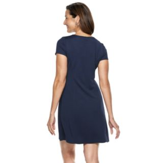 Petite Dana Buchman Travel Anywhere Solid Fit & Flare Dress