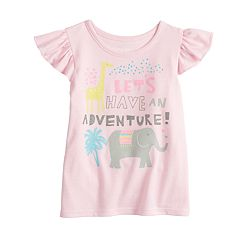 Baby Girl Jumping Beans® Flutter Sleeve Glitter Graphic Tee