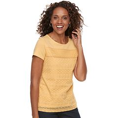 Women's Croft & Barrow® Mixed-Media Lace Tee
