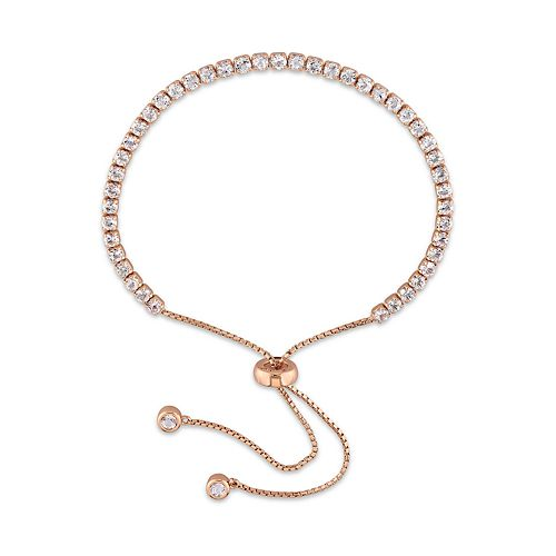Stella Grace Rose Gold Tone Sterling Silver White Topaz Bolo Bracelet