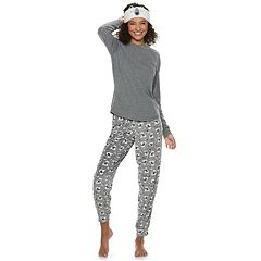 Juniors' SO® Sleep Tee, Banded Bottom Sleep Pants & Headband Pajama Set