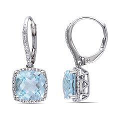 Stella Grace 1/5 Carat T.W. Diamond & Blue Topaz Drop Earrings