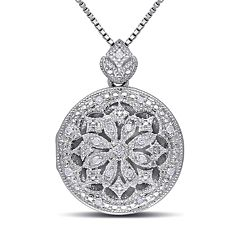 Stella Grace Sterling Silver 1/10 Carat T.W. Diamond Floral Locket Necklace