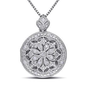 Stella Grace Sterling Silver 1/10 Carat T.W. Diamond Floral Locket Necklace