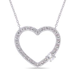 Stella Grace Sterling Silver Lab-Created White Sapphire Heart Pendant