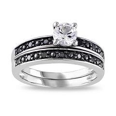 Stella Grace Sterling Silver Lab-Created White Sapphire & 1/10 Carat T.W. Black Diamond Engagement Ring Set