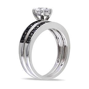 Stella Grace Sterling Silver Lab-Created White Sapphire & 1/10 Carat T.W. Black Diamond Engagement Ring Set