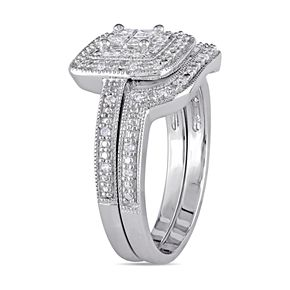 Stella Grace Sterling Silver 1/6 Carat T.W. Diamond Square Halo Engagement Ring Set