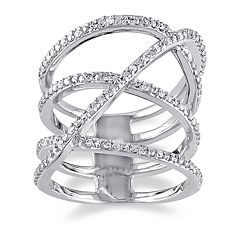 Stella Grace Sterling Silver 1/5 Carat T.W. Diamond Crisscross Ring