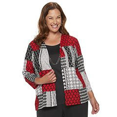Plus Size Alfred Dunner Studio Patchwork Mock-Layer Top
