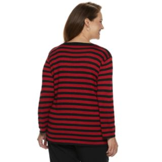Plus Size Alfred Dunner Studio Diagonal Striped Lurex Sweater