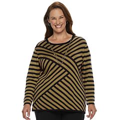 Plus Size Alfred Dunner Studio Diagonal Striped Lurex Sweater