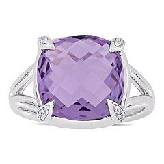Stella Grace Sterling Silver Amethyst & White Topaz Ring