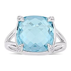 Stella Grace Sterling Silver Sky Blue Topaz & White Topaz Ring