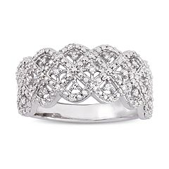 Stella Grace Sterling Silver 1/5 Carat T.W. Diamond Scalloped Ring