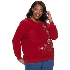 Plus Size Alfred Dunner Studio Embroidered Crewneck Sweatshirt